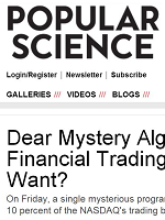 Dear Mystery Algorithm That Hogged Global Financial Trading Last Week: What Do You Want?