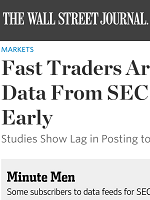 FAST TRADERS ARE GETTING DATA FROM SEC SECONDS EARLY